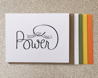 Recognize Your Power A2 Greeting Card, Typography Print, Motivation, Inspiring Cards, Pep Talk, Monochrome Art