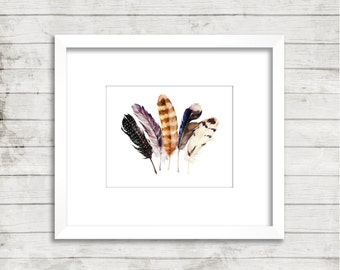 """Feather Print   8x10""""   Digital Download   Instant Download   Watercolour Feathers   Boho   Tribal   Wall Decor   Home Decor   Printable"""