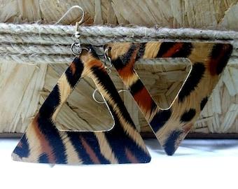 Animal print earrings, Leopard Earrings, Statement Earrings, Animal Print Jewelry, Handmade earrings