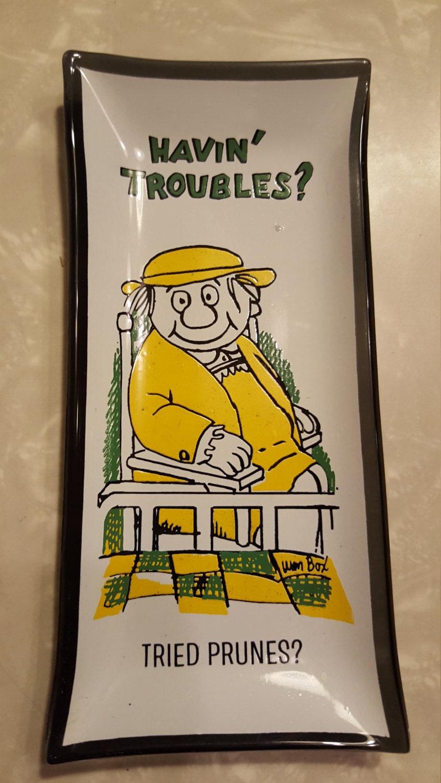Vintage houze art smoked glass trinket tray kitschy william for Houze design