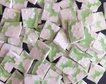 GORGEOUS textured floral mosaic tile- broken plate vintage china- ceramic-shabby chic-pique assiette-tessera-id*754