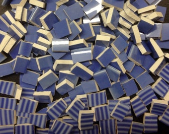 PERIWINKLE mosaic tile- 180 pcs-ceramic broken plate tile-pique assiette-tessera-id*454