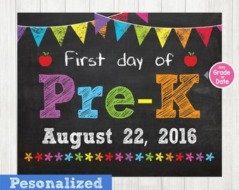 First Day of Pre-K Sign, First Day of School Sign, First Day of School Chalkboard Sign Printable Photo Prop Graduation