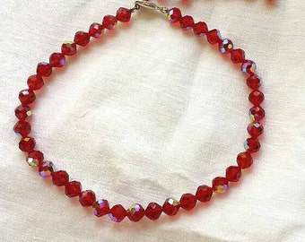 Vintage Ruby Red Crystal  Choker from the 60s