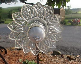 Glass/Ceramic Flower Plate Yard Art Suncatcher #1015