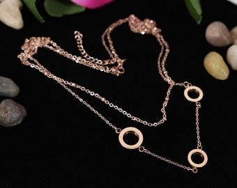 Multi Strand Necklace Rose Gold Simple Jewelry - simple and classy