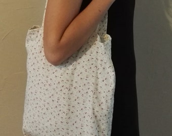 Tote beige floral cotton bag