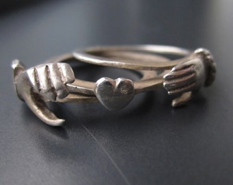 Antique English Fede Ring, Silver, Victorian