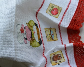 100% Cotton, hand painted kitchen towel