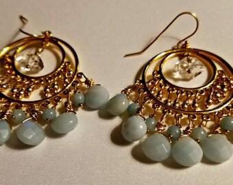 Amazonite and Herkimer Diamonds Dangle Earrings