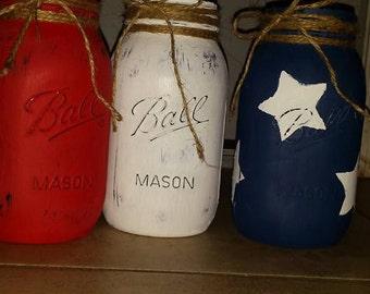Set of 3, Distressed mason jars
