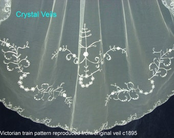 Wedding Veil - Victorian style - Cornely embroidered  - identical to the original 1895 veil!