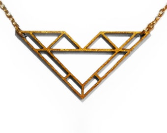 Gold Geometric Laser Cut Wooden Necklace : #11