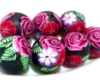 7 polymer clay beads pearls Fimoperlen Rose with leaf