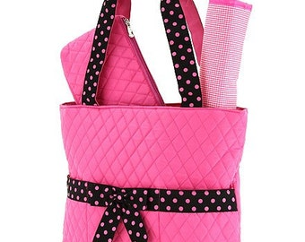 Monogramed pink  and black diaper bag