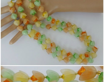 Vintage Western Germany CITRUS FROSTED TULIPS Lucite Necklace Tangerine Lime Orange~
