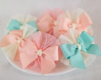 lovely chiffon  hair bow pink/mint/peach bret pin or band 1 set = 2 pins girl babygirl