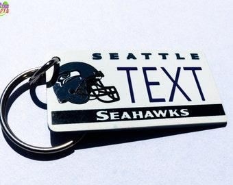 Seattle Seahaws Keychain Tag - Retro- Machine Engraved