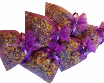 Organic lavender and chamomile 6 ct sachet set with amethyst embellishment