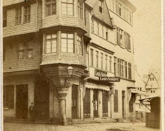 Carte de Visite Photograph 1860s Frankfurt German Street Photography by Plaut
