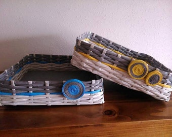 Baskets-trays of paper recycled