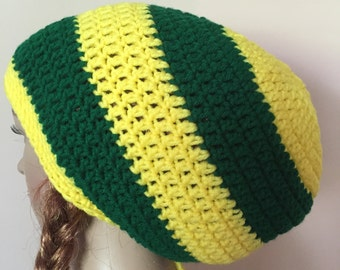 Green and yellow large rasta hat, rasta tam, crochet rasta hat