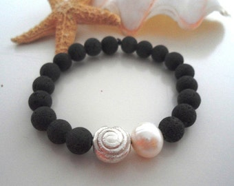 Lava bracelet with Pearl & silver spiral