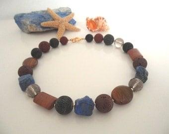 UNIQUE lava, lapis lazuli, gold necklace