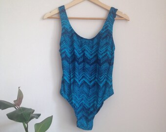 Electric Bkue Chevron Swimsuit Sz UK 10