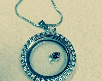 Floating locket with 3 charms of your choice