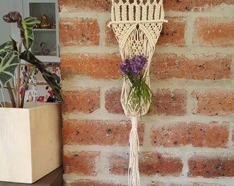 Macrame wallsconce - plant or vase hanger - made with raw white cotton rope on pine dowel - home/interior decor -neutral tones