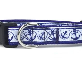 Blue Anchor & Rope Nylon Dog Collar