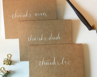 White Calligraphy Manly Thank You Card Pack