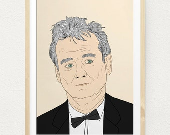 Bill Murray Poster William James Illustration Wall Art Print Hanging Painting Portrait Vincent Life Aquatic Ghostbusters Lost Translation
