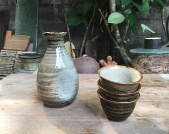Japanese Sake Pottery Bottle Set