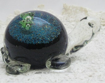 Vintage Murano Glass Like Turtle Paperweight