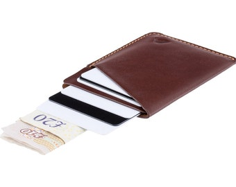 Ultra slim leather card holder / minimalist wallet - A-SLIM - Mahogany Brown - Ninja - Card case - Card wallet - Front Pocket Wallet - Micro