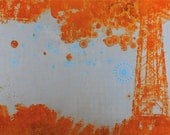 """Original Limited Edition Rust Print and Letterpress Print on Handmade Paper. Corroded Tower Landscape Geometric Pattern """"Corrosive Exposure"""""""