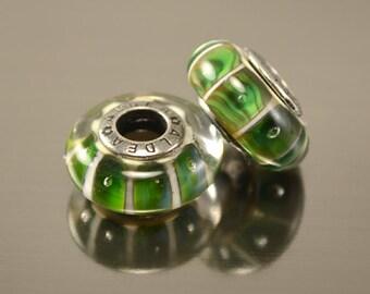 Lampwork beads for european bracelet, Handmade Lampwork European Charm Bracelet Bead, green grass stripes, european lampwork charm beads