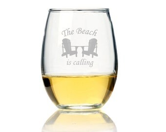2 pcs The Beach is Calling - Engraved 21 oz. Stemless Wine Glass (CM97-192)