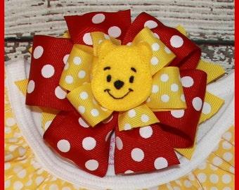 Winnie the Pooh Bear red Polka dot hair bow Hair bow on alligater clip or head band