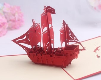 3D Large Ship Pop up Greeting Card, Collectible Pop up Cards, Kirigami Popup Card.