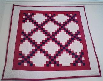 Baby quilt, irish chain, lap quilt, red, white, blue