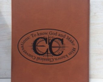 Classical Conversations Engraved 7x9 Leather Portfolio with refillable notepad