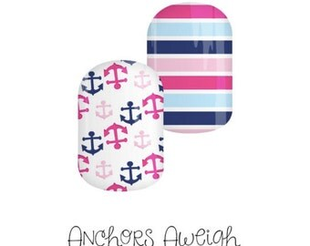 Jamberry Nails Custom Anchors Aweigh NAS Wraps- Summer/Nautical