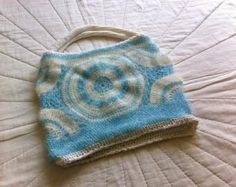 Original hand-held bag in synthetic threads sparkling wine, spirit crochet Japanese kawaiou very contemporainn