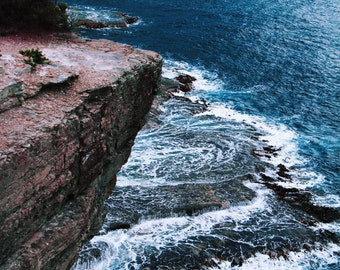 Nature Photography - Ocean Cliff Blue Dramatic Waves