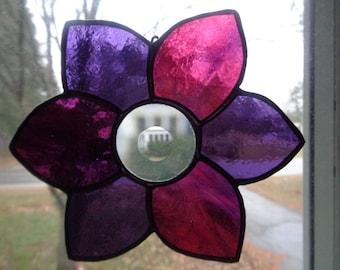Pink and Purple Flower Suncatcher