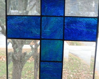 Stained glass cross window