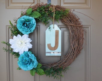 "Turquoise ""J"" letter Wreath"